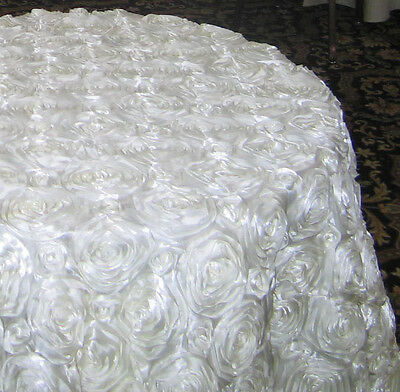 """5 Pack 120"""" Round Rosette Satin 3D Tablecloth 3 Colors Ribbon Wedding 5ft Table"""