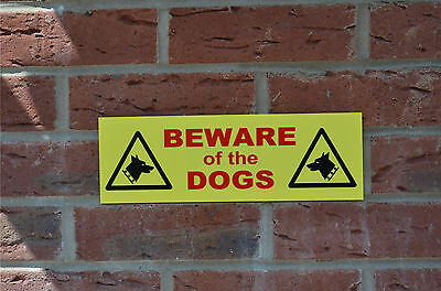Beware of the dogs yellow warning house security wall sign holed, sticker, plain