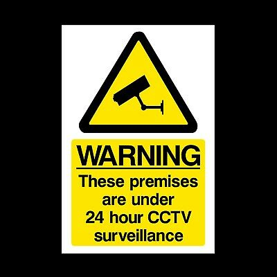 CCTV SIGN 24HR SURVEILLANCE PLASTIC RIGID - A5 150x210mm *CHEAP*