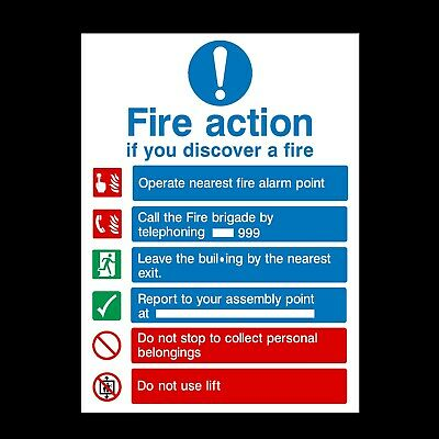 FIRE ACTION - DO NOT USE LIFTS IN FIRE PLASTIC RIGID SIGN - 210 x 297mm - A4
