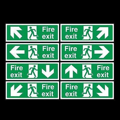 FIRE EXIT SIGNS PLASTIC RIGID SIGN 300x100mm *CHEAP*