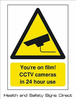 CCTV 'YOUR ON FILM! CCTV CAMERAS IN USE' PLASTIC RIGID SIGN - 210 x 297mm CHEAP*