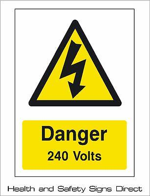 DANGER 240 VOLTS ELECTRICAL WARNING PLASTIC RIGID SIGN 150 x 210mm *CHEAP*