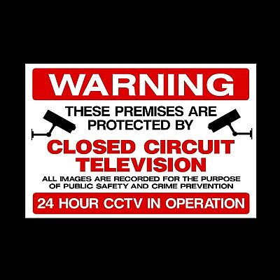 CCTV 'WARNING THESE PREMISES ARE PROTECTED' PLASTIC RIGID SIGN 150 x 210mm CHEAP