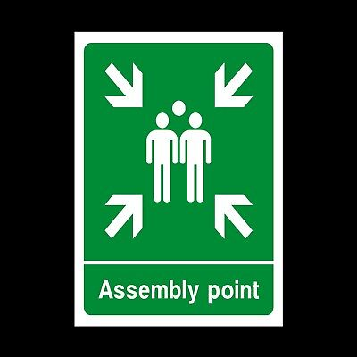 ASSEMBLY POINT / MUSTER POINT PLASTIC RIGID SIGN 150 x 210mm *CHEAP*