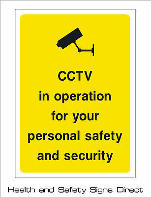CCTV 'CCTV IN OPERATION FOR YOUR SAFETY' PLASTIC RIGID SIGN 210 x 297mm *CHEAP*