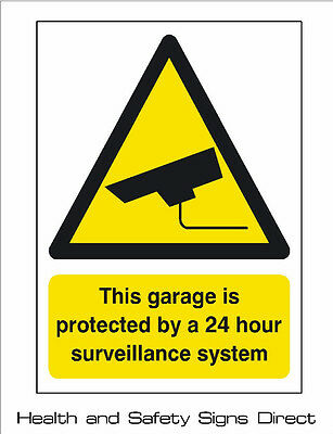 CCTV 'THIS GARAGE IS PROTECTED BY CCTV' PLASTIC RIGID SIGN 150 x 210mm *CHEAP*