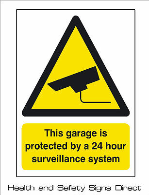 CCTV 'THIS GARAGE IS PROTECTED BY CCTV' PLASTIC RIGID SIGN 297x210mm A4 *CHEAP*