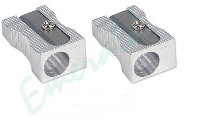 2 x Quality Single Hole Metal Pencil Sharpeners - Same Day Dispatch