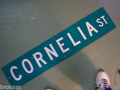 Vintage ORIGINAL CORNELIA ST STREET SIGN WHITE LETTERING ON GREEN BACKGROUND