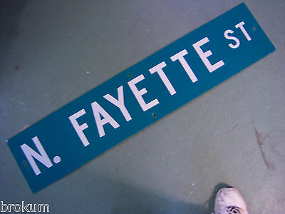 Vintage ORIGINAL N. FAYETTE ST STREET SIGN WHITE LETTERING ON GREEN BACKGROUND