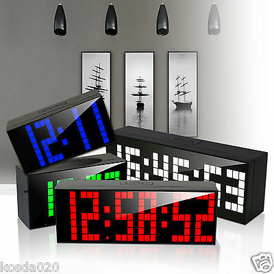 Digital Large Big Jumbo LED Snooze Wall Desk Alarm Clocks Day of Week Calendar