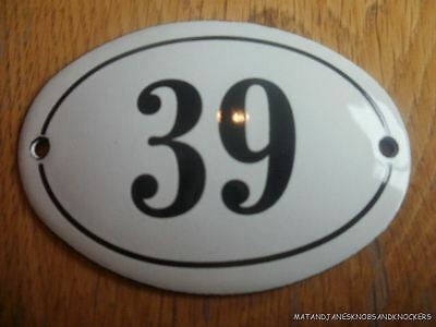 Small Antique Style Enamel Door Number 39 Sign Plaque House Number Sign