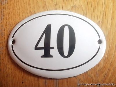Small Antique Style Enamel Door Number 40 Sign Plaque House Number Furnituresign