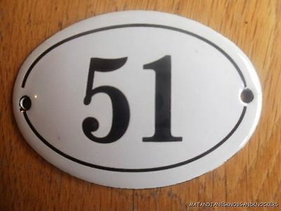 Small Antique Style Enamel Door Number 51 Sign Plaque House Number Furnituresign
