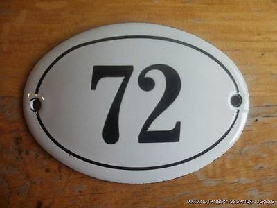 Small Antique Style Enamel Door Number 72 Sign Plaque House Number Furnituresign