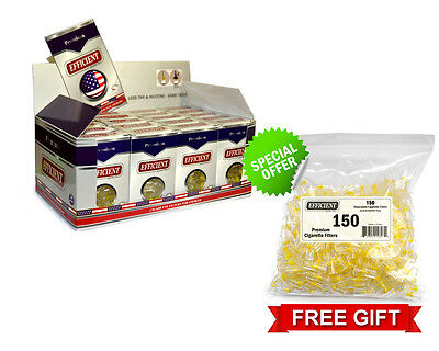 Efficient Cigarette Filters 20 Packs (600 filters) + FREE 150 Bulk Filters