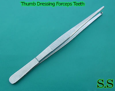"5 Rat Tooth Tissue Thumb Forceps 6"" Surgical 1X2Teeth"