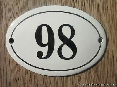 Small Antique Style Enamel Door Number 98 Sign Plaque House Number Furnituresign