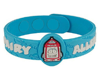AllerMates DAIRY Allergy Wristband Lactose Milk Medical ID Silicone Bracelet NEW