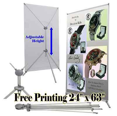 "Grasshopper X Banner Stand 24"" x 63"" Free Graphic Print Trade Show Display PopUp"