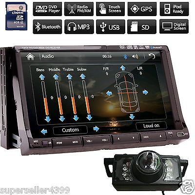 """Super GPS+MAP+Camera-Double 2 Din In Dash 7"""" Car Stereo DVD Player Radio BT Ipod"""