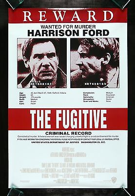 THE FUGITIVE *CineMasterpieces WANTED FOR MURDER HARRISON FORD MOVIE POSTER 1993