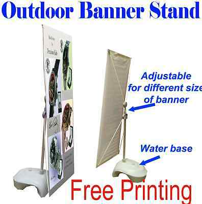 Outdoor Adjustable X Banner Stand w/ Free Printing Trade Show Display Banner