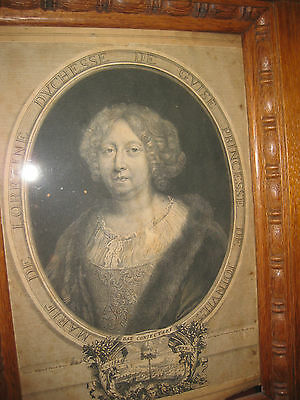 Antique French engraving: Marie of Lorraine, Duchess of Guise, Paris, 1684