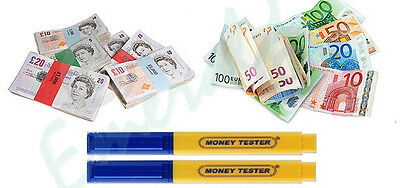 2 x Money Tester Pen Counterfeit Bank Note Detector Pens - Same Day Dispatch