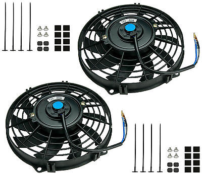 "2x 10"" Universal Electric Cooling Fans 254 mm Radiator Slimline Front/Rear Mount"