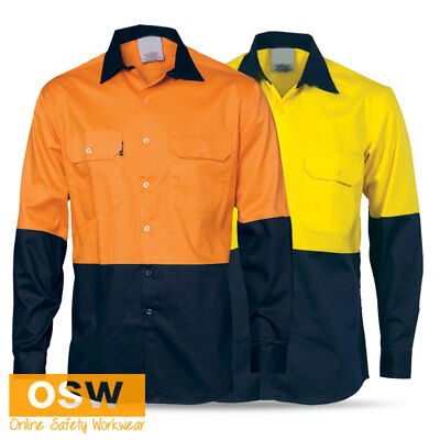 Hi Vis Two-Tone Full Open Front Work Tradies Builder Cotton Drill Shirt