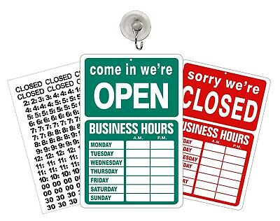 Open Closed sign with hours Store Business Hours Window Sign GREEN - RED