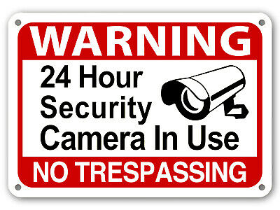 24 Hour Surveillance Signs Home Security Warning Signs No Trespassing cctv sign