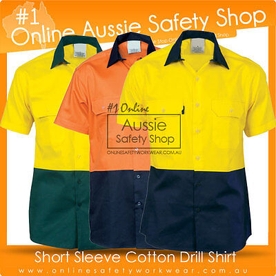 Hi Vis Shirt Two Tone Day Safety Cotton Drill Workwear Short Sleeve Shirt
