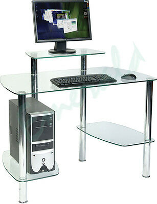 Glacier Clear Glass Workstation CPU & Monitor Platform - Same Day Dispatch