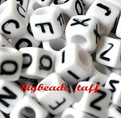 100pcs 6mm white cube alphabet single letter acrylic beads A - Z