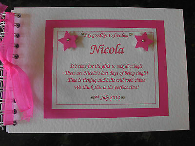 Personalised Guest Book Hen Night Or Wedding With Or Without Poem Stars Design