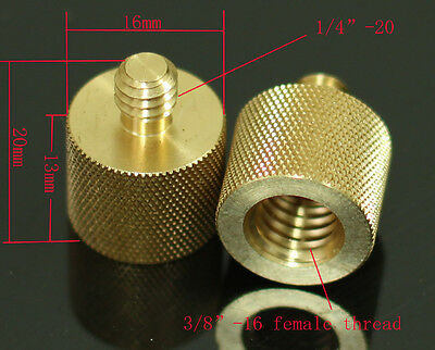 """2pcs 3/8"""" 16 Female to 1/4""""-20 male thread adaptor for tripod camera light stand"""