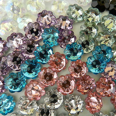 10 x tiny diamante flower buttons lots of colours 10mm glittery & beautiful