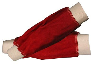 """Red Leather Welders Sleeves elasticated cuff 14"""" for Welder / Blacksmith"""