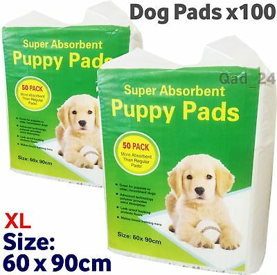 100 PUPPY DOG TRAINING PEE PADS 60 x 90CM MAT HOUSE TRAINER PET EXTRA LARGE XL