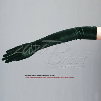 "19.5"" Long Stretch Velvet Gloves Slip-On 12BL / Various Colors"