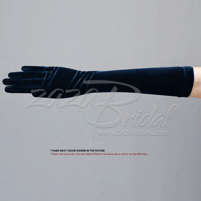 "15.5"" Long Stretch Velvet Gloves Slip-On Below-The-Elbow Length / Various Colors"