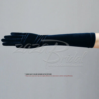 Stretch Velvet Gloves Slip-On Below-The-Elbow Length / Various Colors
