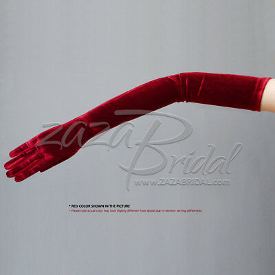 "23.5"" Long Stretch Velvet Gloves Slip-On Opera Length / Various Colors"