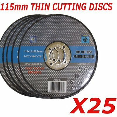 "25x 115mm Ultra thin metal cutting discs 4.5"" 4 1/2"" slitting discs (pack of 25)"