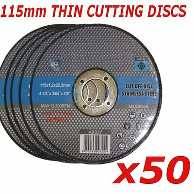 "50x 115mm Ultra thin metal cutting discs 4.5"" 4 1/2"" slitting discs (pack of 50)"