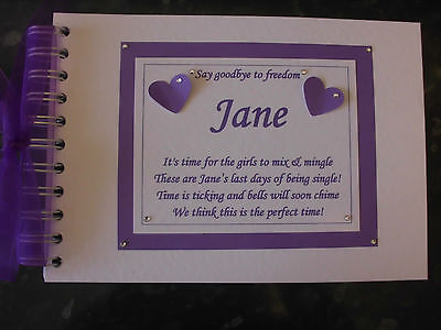 Personalised Guest Book Hen Night Or Wedding With Or Without Poem Hearts Design