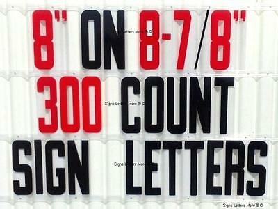 """8"""" On 8 7/8"""" Portable Marquee Sign Flex Black Letters/Red Numbers Set 300 Count"""